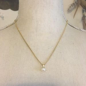 Antique genuine pearl 1/20 12 KT pendant on chain